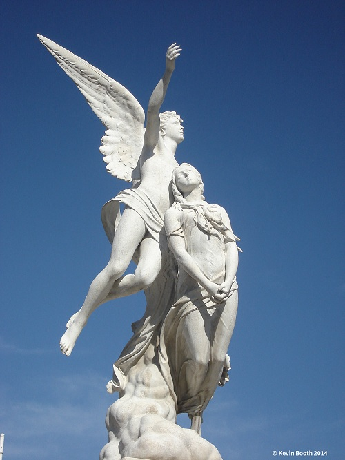 Fabiesi's angel and maiden (1880) presides over the pantheon of Pere Bassegoda
