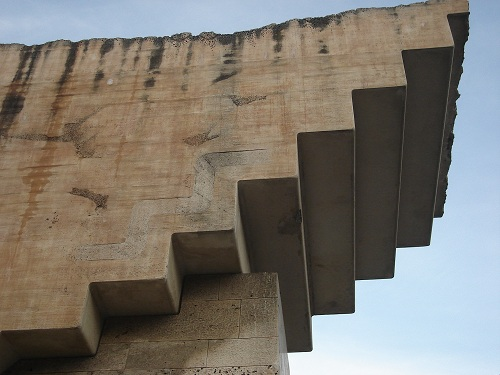 The upside-down staircase symbolises the step-by-step construction of Catalonia's future