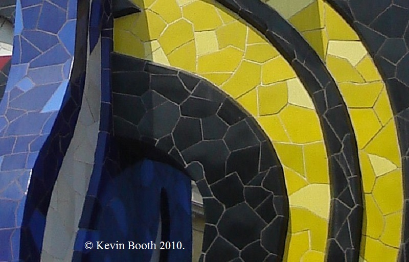 The use of trencadís, or broken tile mosaic, is a nod towards Barcelona's Modernista heritage. It was pioneered by the architect Antoni Gaudí